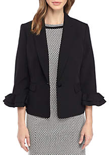 Stretch Crepe One Button Jacket With Ruffle Sleeves