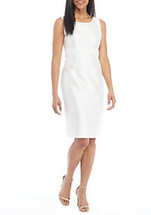 Solid Sheath Dress With Waist Jewel Embellishment