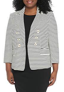Plus Size Textured Stripe Jacket
