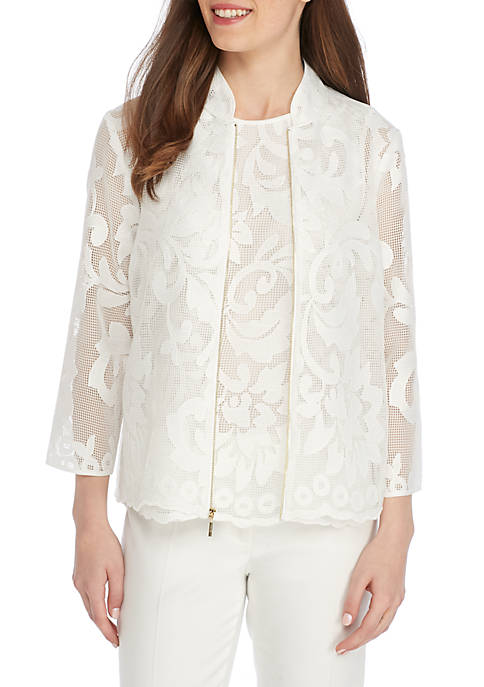 Kasper Petite Floral Lace High Collar Jacket