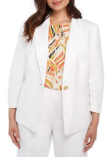 Plus Size One Button Linen Notch Collar Jacket