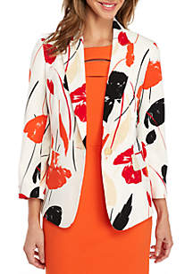 Tropical Printed One-Button Crepe Jacket