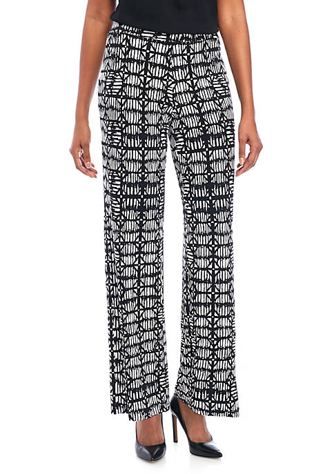 Kasper Printed Pull-on Wide Leg Pants