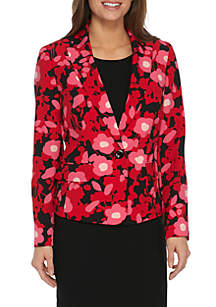 Spring Bloom Print One-Button Jacket