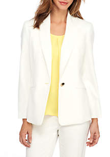 Solid One Button Notch Lapel Jacket With Pockets