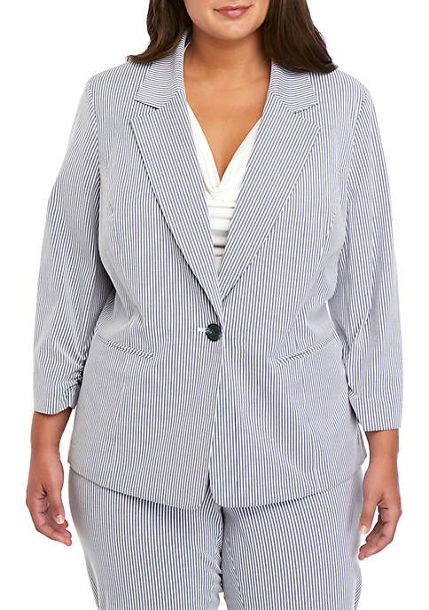Kasper Plus Size One Button Notch Collar Striped