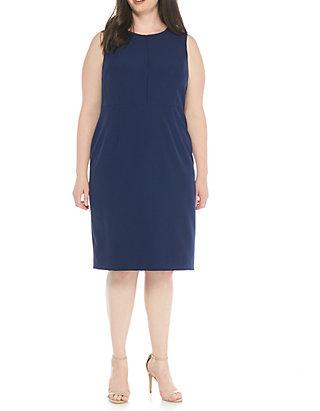 0e974b851cc Kasper Plus Size Solid Stretch Crepe Sheath Dress