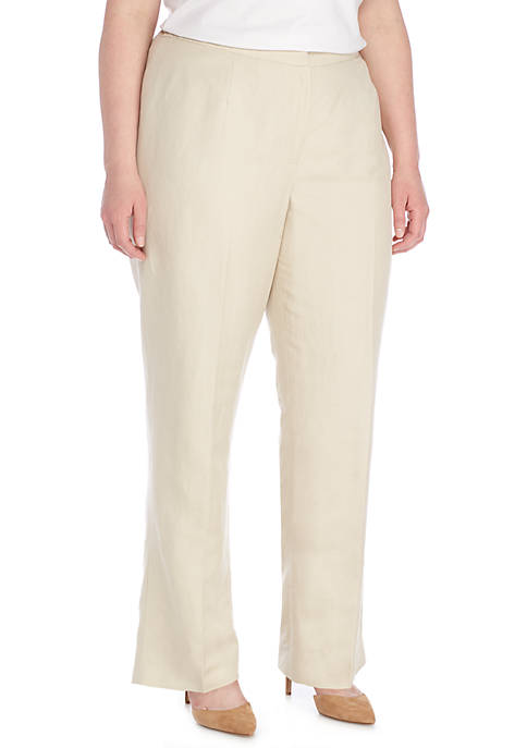 Kasper Plus Size Solid Linen Ankle Kate Pants