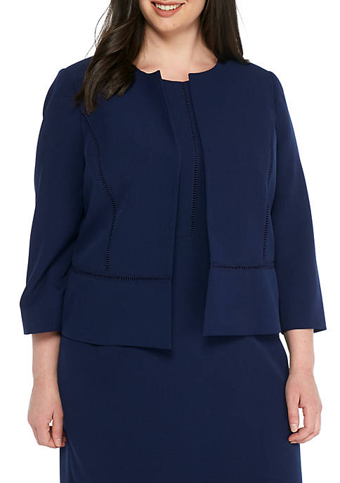 Kasper Plus Size Stretch Crepe Fly Away Jacket