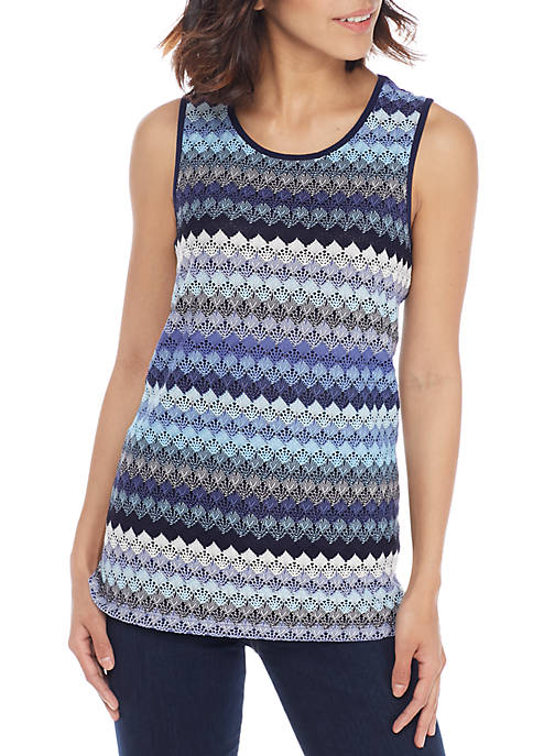 Kasper Crochet Lace Double U-Neck Tank