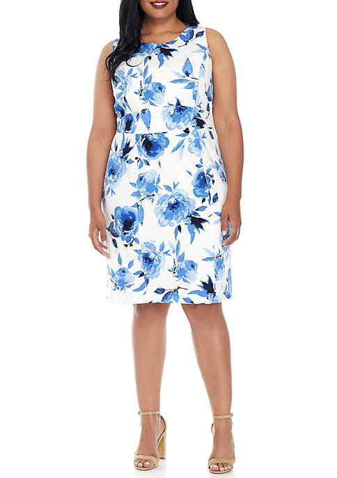Kasper Plus Size Floral Print Fit and Flare