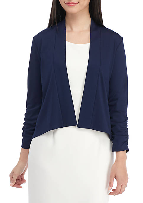 Kasper Petite Knit Three-Quarter Sleeve Jacket