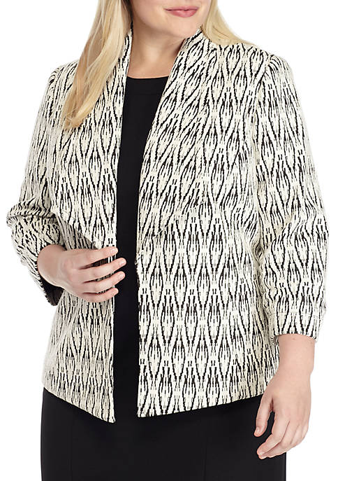 Kasper Plus Size Textured Knit Wide Lapel Jacket