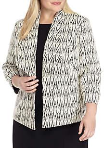 Plus Size Textured Knit Wide Lapel Jacket
