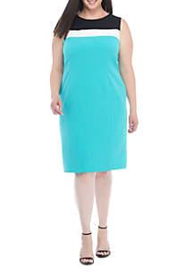Plus Size Sleeveless Colorblock Dress