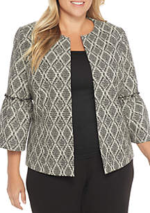 Plus Size Abstract Diamond Printed Fly Away Jacket with Ruffled Bell Sleeves