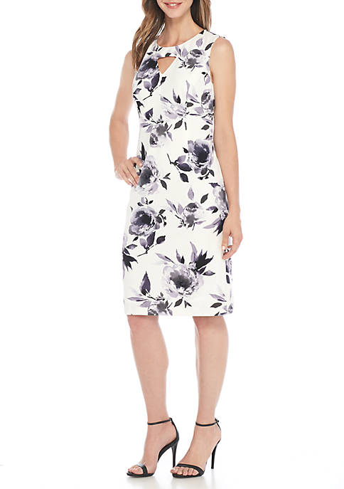 Kasper Petite Sleeveless Floral Print Scuba Dress