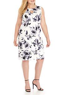 Plus Size Sleeveless Floral Print Scuba