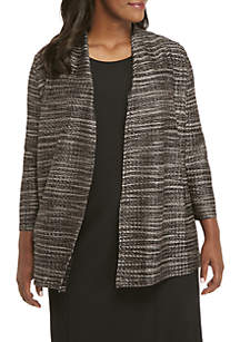 Plus Size Textured Knit Cardigan