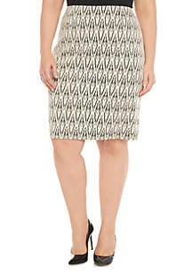 Plus Size Text Knit Stretch Skirt