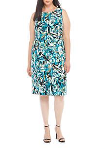 Plus Size Blossom Print Sheath Dress