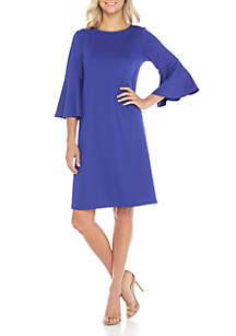 Ribbed Knit Bell Sleeve Dress