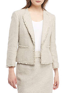 Tweed Kissing Jacket With Fringe
