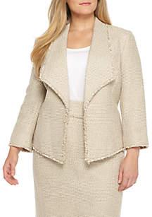 Tweed Wide Lapel Jacket