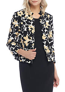 Petite Floral Print Inverted Collar Jacket