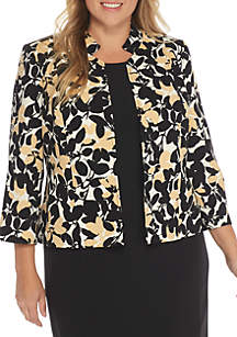 Plus Size Floral Print Inverted Collar Jacket