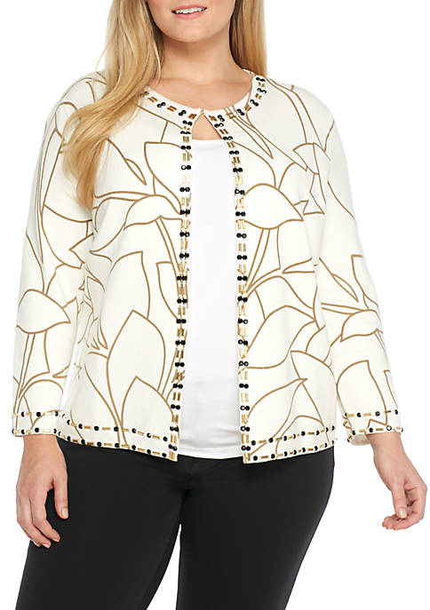 Kasper Printed Cardigan with Bead Trim