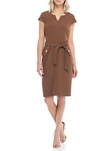 Petite Cap Sleeve Belted Dress