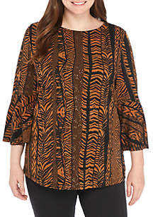 Plus Size Printed Gold Floral Ruffle Sleeve Top