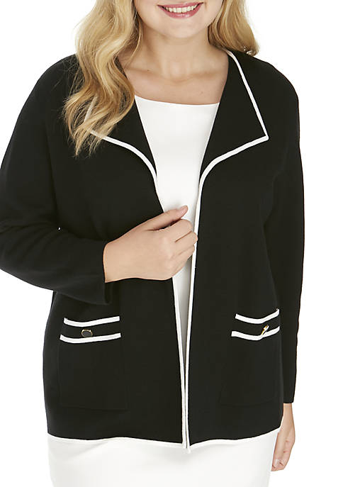 Kasper Plus Size Contrast Tipped Jacket
