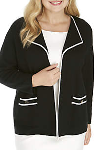 Plus Size Contrast Tipped Jacket