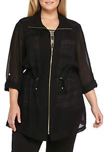 Plus Size Crinkle Zip Jacket with 3/4 Sleeves