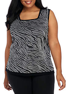 Plus Size Textured Zebra Print Top