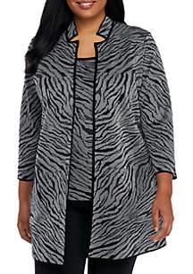 Plus Size Textured Zebra Print Cardigan