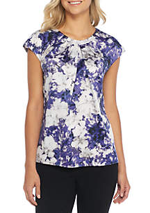 Peony Printed Charmeuse Extend Cap Sleeve Blouse