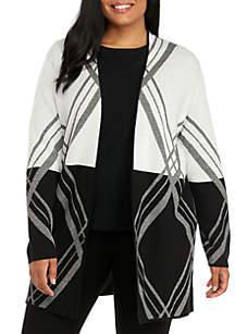 Plus Size Open Long Diagonal Cardigan