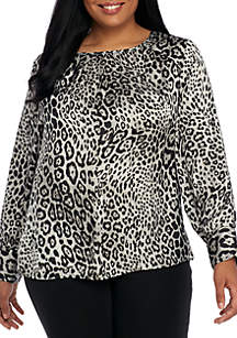 Plus Size Long Sleeve Animal Print Woven Blouse