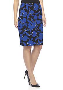 Floral Crepe Slim Skirt