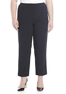 Plus Size Crepe Pinstripe Pants