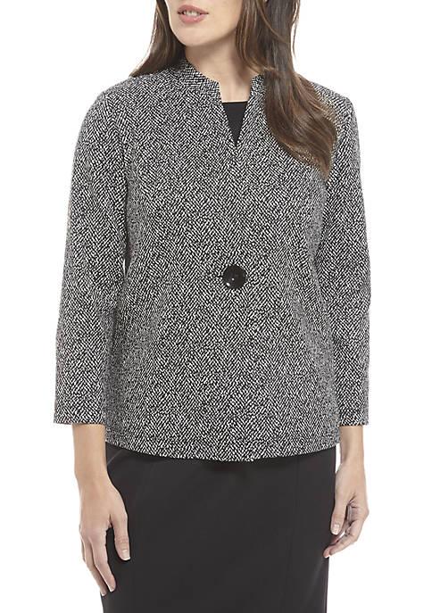 Kasper 1-Button Texture Knit Jacquard Jacket