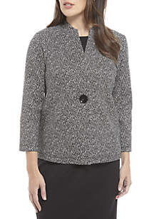 1-Button Texture Knit Jacquard Jacket