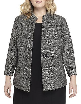 eb59467320 Kasper Plus Size 1-Button Textured Knit Jacquard Jacket