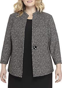 Plus Size 1-Button Textured Knit Jacquard Jacket