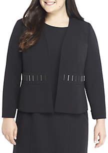 Plus Size Flyaway Jacket With Embellished Waist