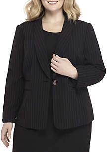 1-Button Shawl Pinstripe Jacket