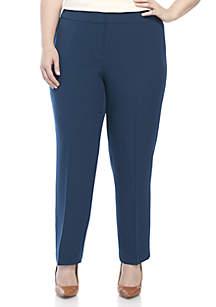 Plus Size Stretch Crepe Slim Pants